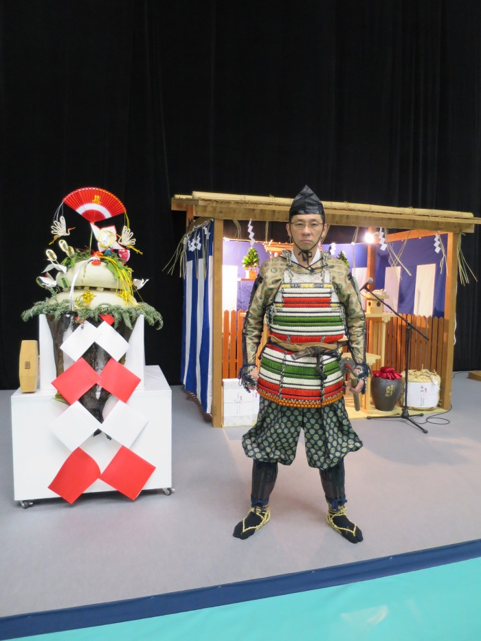 Morinosuke Kawaguchi dressed in a samurai yoroi at the Kagami Biraki event at Nippon Budokan in January 2016