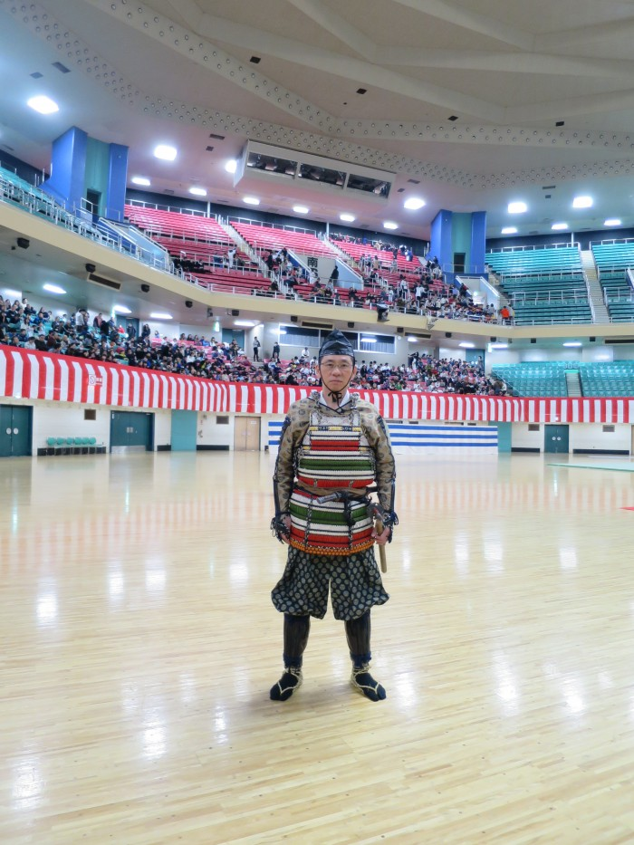 Now off to rehearsal! Morinosuke is standing inside the Nippon Budokan as people are arriving for the ceremony.