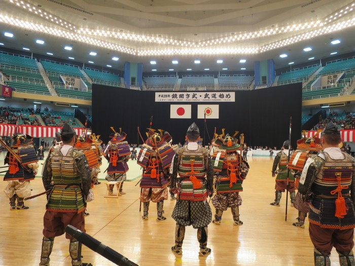 The samurai at the 2016 Kagami Biraki at the Nippon Budokan in Tokyo. The man in the center is Morinosuke Kawaguchi.